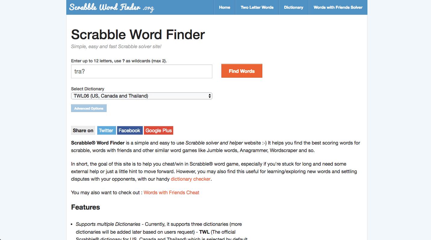 Scrabble Word Finder Screenshot 2
